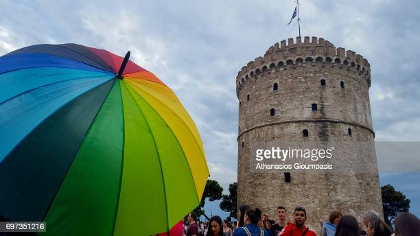 Thousands of people parade as they pass Thessaloniki's White Tower during the 6th Thessaloniki Pride festival on June 17 2017 in Thessaloniki Greece...