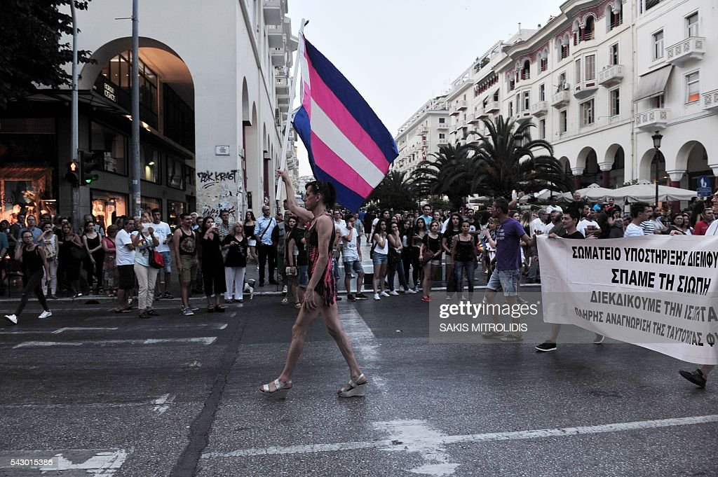 Thousands of people parade in the streets of Thessaloniki, northern Greece, during the city's 5th Gay Pride march, on June 25, 2016. / AFP / SAKIS