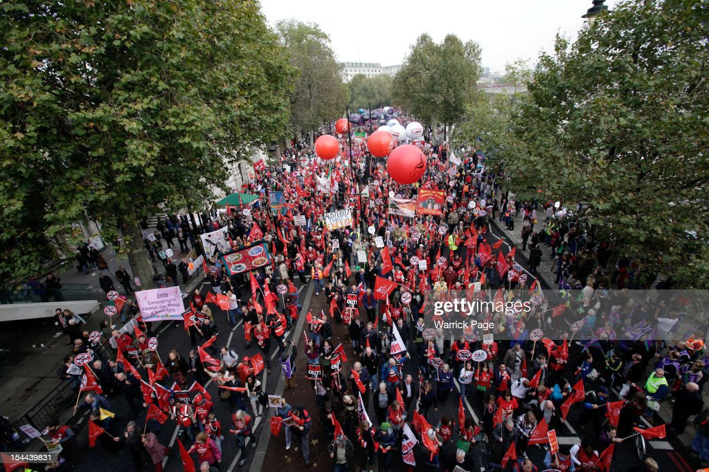 Thousands of people participate in a TUC march in protest against the government's austerity measures on October 20, 2012 in London, England. Thousands of people are taking part in the Trades Union Congress (TUC) organised anti-cuts march that ends with a rally in Hyde Park, where Labour leader Ed Miliband is scheduled to address the demonstrators.