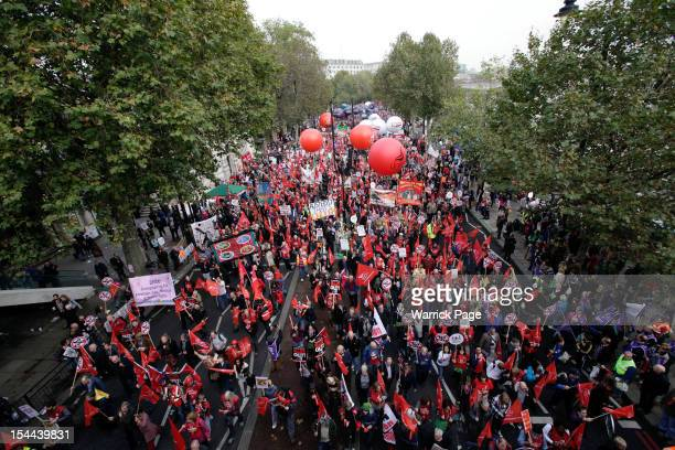 Thousands of people participate in a TUC march in protest against the government's austerity measures on October 20 2012 in London England Thousands...
