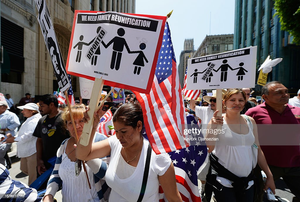 Thousands of people participate in the May Day march and rally on May 1, 2013 in Los Angeles, United States. Labor organizations and immigration groups used the annual celebration to push for an immigration system overhaul.