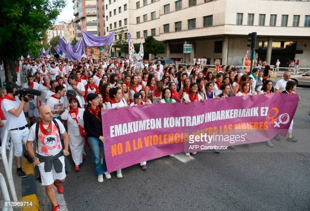 Thousands of people protest against the growing number of sexual assaults during the San Fermin bull run festival in Pamplona northern Spain on July...