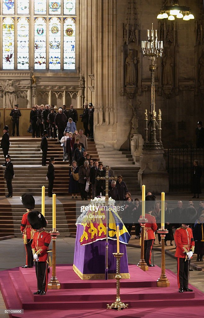 Thousands Of People Queued For Hours To See The Queen Mother's Coffin Lying In State In Westminster Hall Guards From The Household Division Welsh...
