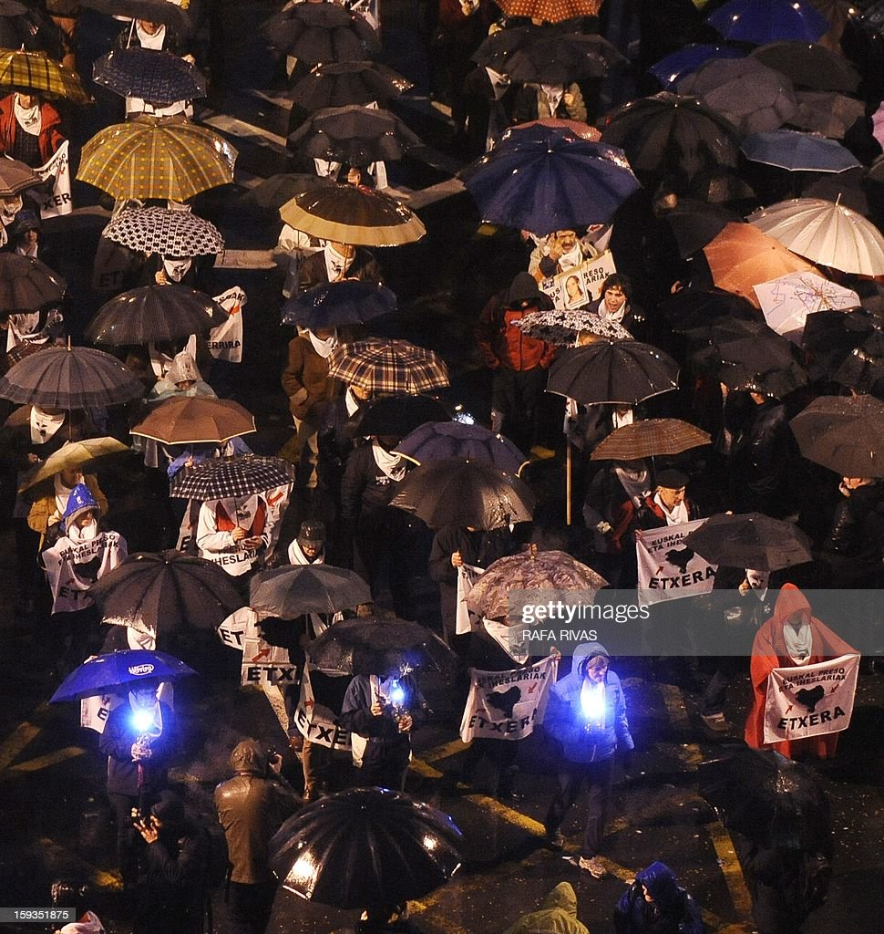 Thousands of people take part in a march demanding the transfer of ETA prisoners to the Basque country during a demonstration called by 'Herrira!' a pro-prisoners group in the Northern Spanish Basque city of Bilbao on January 12, 2013.