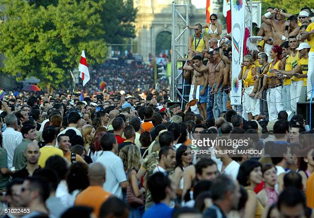 Thousands of people take part in the 'Gay Pride' in Madrid 03 July 2004 AFP PHOTO/ PierrePhilippe MARCOU