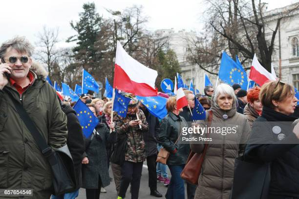 Thousands of people took part in a protest in support of the European Union on March 25 2017 in Warsaw Poland The slogan of the protest 'I love you...