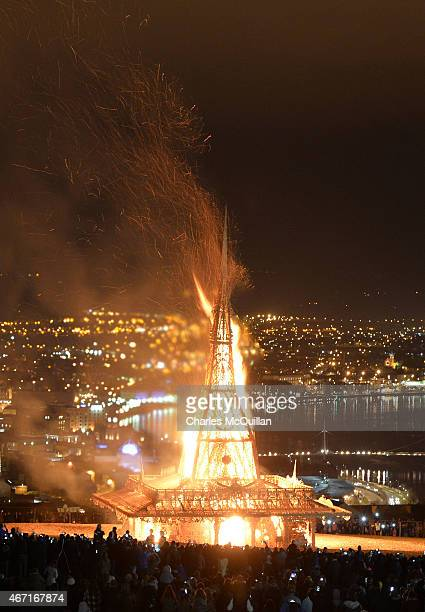 Thousands of people watch as the Temple by renowned Burning Man artist David Best is set ablaze on March 21 2015 in Londonderry Northern Ireland...