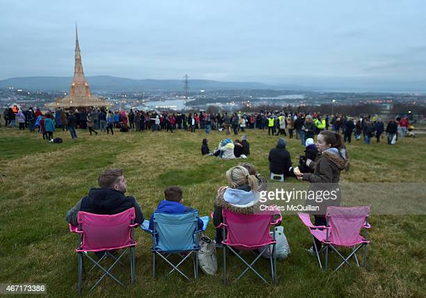 Thousands of people watch on as the Temple by renowned Burning Man artist David Best is to be set ablaze on March 21 2015 in Londonderry Northern...