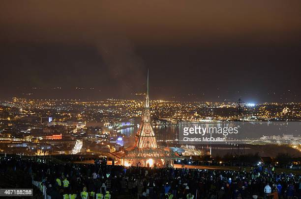 Thousands of people watch on as the Temple by renowned Burning Man artist David Best is set ablaze on March 21 2015 in Londonderry Northern Ireland...