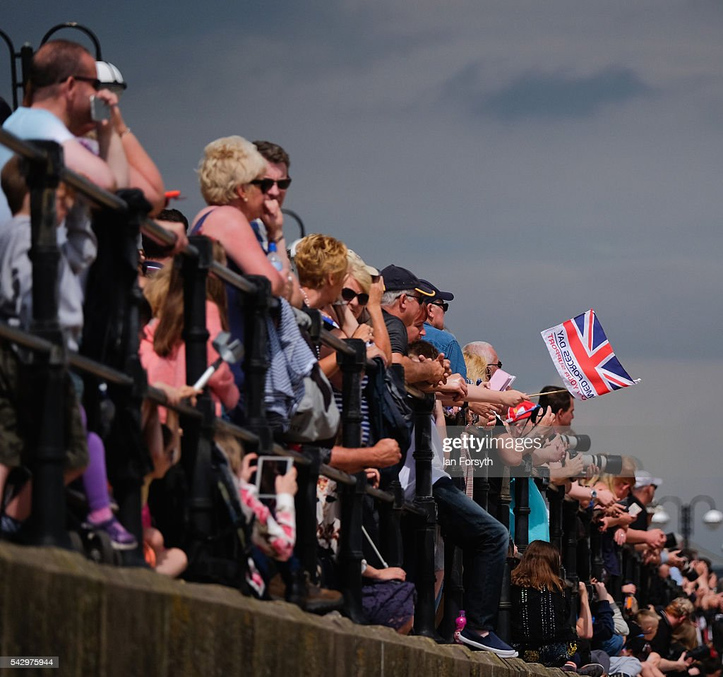 Thousands of people watch the Armed Forces Day National Event on June 25, 2016 in Cleethorpes, England. The visit by the Prime Minister came the day after the country voted to leave the European Union. Armed Forces Day is an annual event that gives an opportunity for the country to show its support for the men and women in the British Armed Forces.