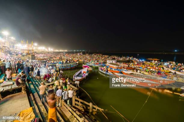 Thousands of pilgrims on boats are watching Aartii a religious ceremony performed every evening at Dashashwamedh Ghat Main Ghat in the suburb Godowlia