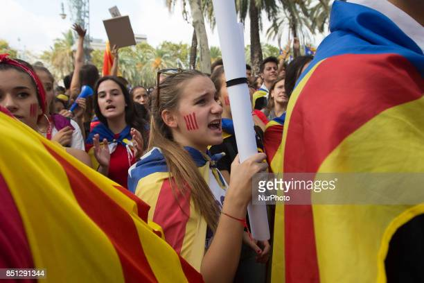 Thousands of proindependence demonstrators from Catalonia demonstrate in Barcelona against the presence of the Spanish police and in favor of the...