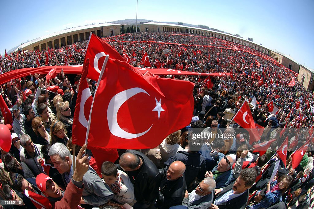 Thousands of pro-secularist Turks holding their national flags attend a rally against Turkish Prime Minister Tayyip Erdogan's possible candidacy to the presidency on April 14, 2007, in Ankara, Turkey. Secularists in this mainly Muslim country fear that if Erdogan became president an Islamic agenda will be implemented without opposition.
