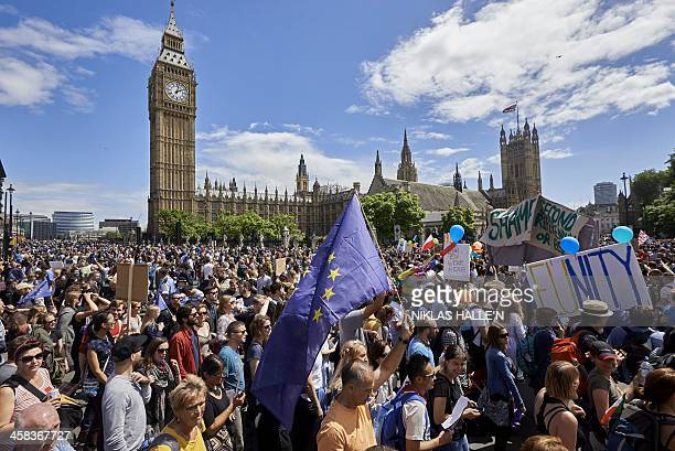 Thousands of protesters gather in Parliament Square as they take part in a March for Europe through the centre of London on July 2 to protest against...