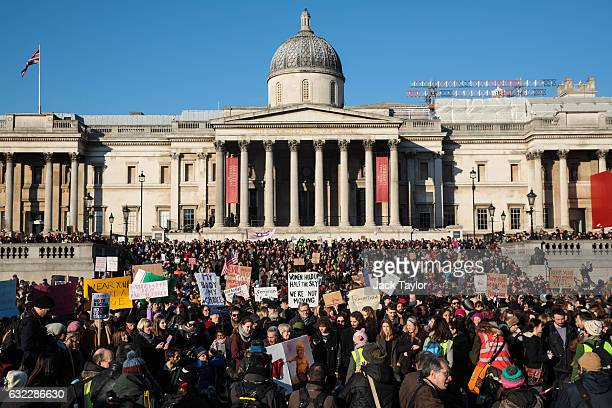 Thousands of protesters gather in Trafalgar Square during the Women's March on January 21 2017 in London England The Women's March originated in...