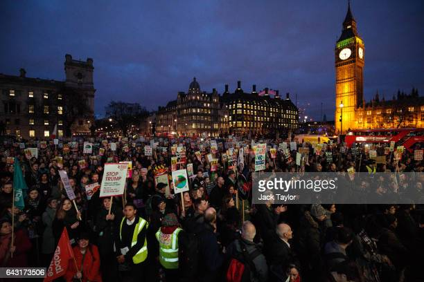 Thousands of protesters holding placards take part in a rally in Parliament Square against US president Donald Trump's state visit to the UK on...