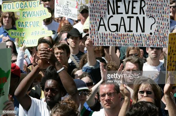 Thousands of protesters join 'Save Darfur' rally at the National Mall calling to stop genocide in the Darfur region of Sudan April 30 2006 in...