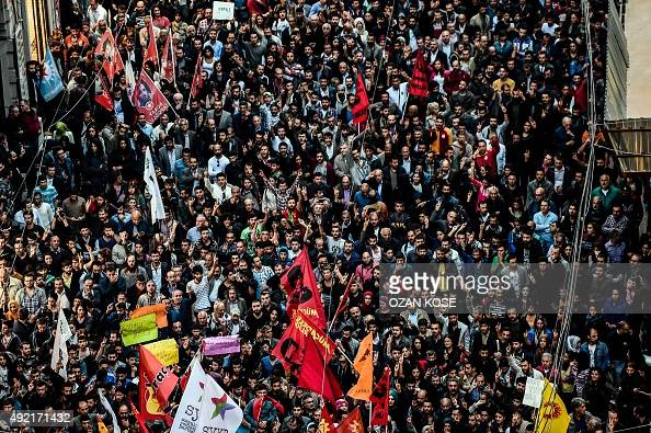 Thousands of protesters take part in a march against the deadly attack earlier in Ankara on October 10 2015 at the Istiklal avenue in Istanbul At...