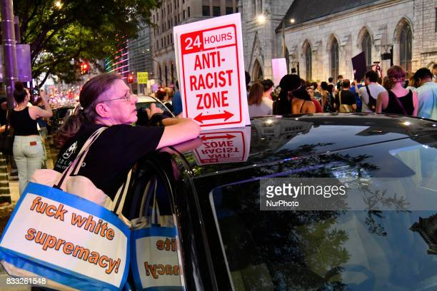 Thousands of protestors participate in the Philly is Charlottesville march in Philadelphia PA on August 16 2017 Demonstrations are being held...