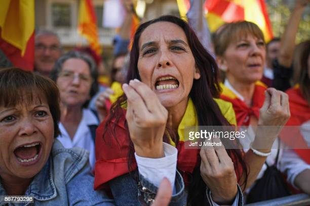 Thousands of prounity protesters gather in Barcelona two days after the Catalan parliament voted to split from Spainon October 29 2017 in Barcelona...