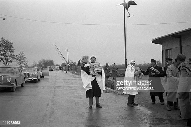 Thousands of refugees flee toward the Austrian border in Gyor Hungary on October 23 1956