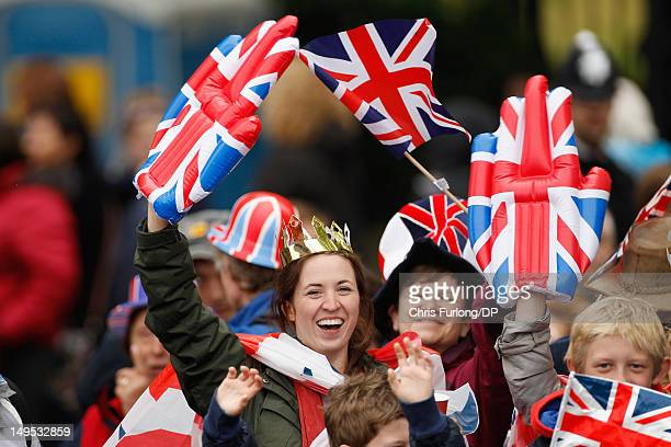 Thousands of revellers line the embankment near Blackfriars Bridge during the Thames Diamond Jubilee River Pageant on June 3 2012 in London England...