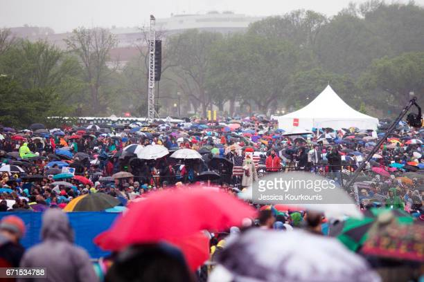 Thousands of scientists and supporters gather on the National Mall for the rally before the March for Science on April 22 2017 in Washington DC The...