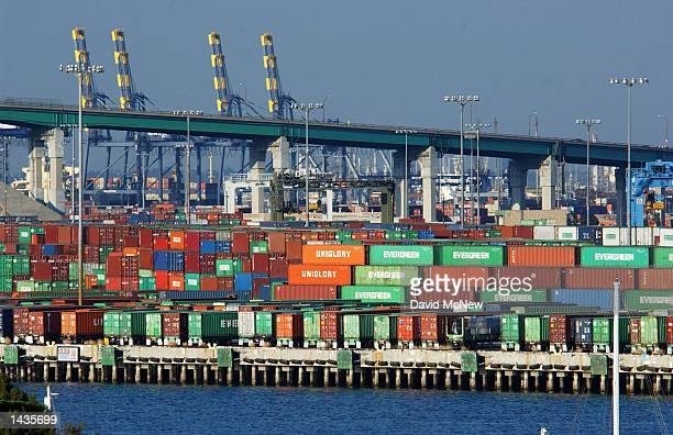 Thousands of shipping containers in the Port of Los Angeles are left dockside during a twoday lockout of longshoremen in every West Coast port that...