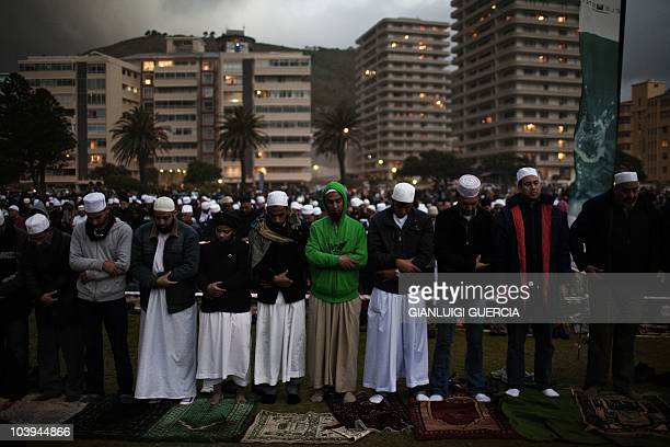 Thousands of South African muslims get ready to perform the evening prayer ahead of the Eid al Fitr celebrations marking the end of the fasting month...