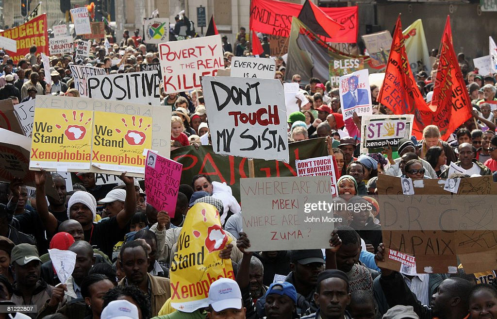 Thousands of South Africans and foreign immigrants protest the attacks on the immigrant community May 24 2008 in Johannesburg South Africa Tens of...