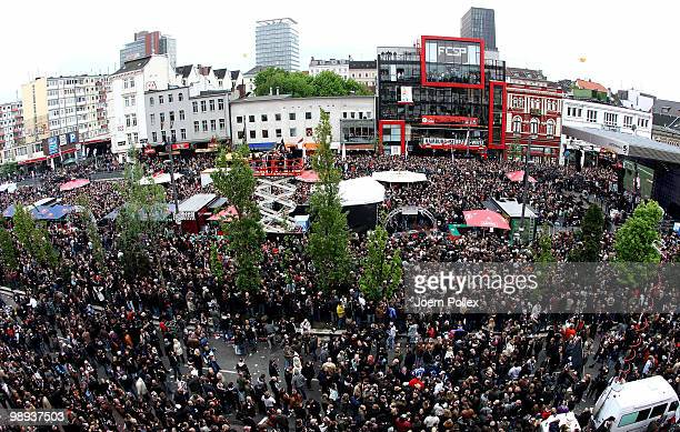 Thousands of St Pauli fans celebrate on the 'Spielbudenplatz' after the Second Bundesliga match between FC St Pauli and SC Paderborn at Millerntor...