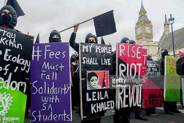 Thousands of students from London's universities march in protest of tuition fees and education cuts on November 4 2015 in London UK During the march...