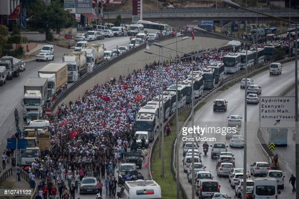 Thousands of supporters are seen marching behind Turkey's main opposition Republican People's Party leader Kemal Kilicdaroglu on day 24 of the...