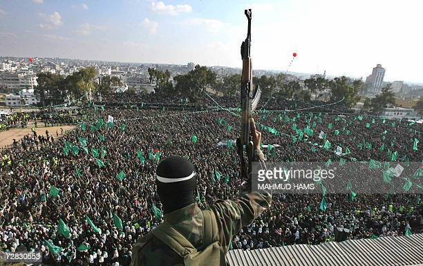 Thousands of supporters of the ruling Hamas party attend a rally in Gaza City 15 December 2006 to listen to an address by Palestinian Prime Minister...