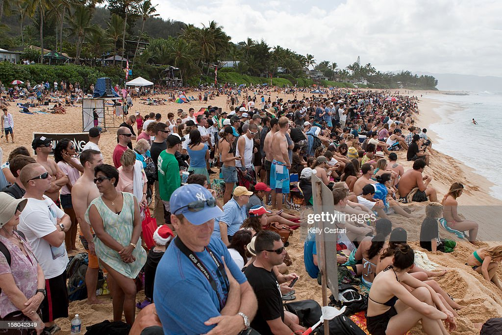 Thousands of surf fans decended upon the North Shore beach of Pipeline for the completion of Rounds two and three of the Billabong Pipe Masters in Memory of Andy Irons on December 9, 2012 in North Shore, Hawaii.