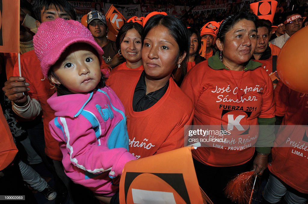 Thousands of sympathizers of Keiko Fujimori, daughter of incarcerated former Peruvian president Alberto Fujimori, cheer �Fuerza 2011� (Strength 2011) party during a rally in Lima on May 19, 2010. Keiko Fujimori, now a Congresswoman who was once Peru�s acting First Lady, hopes her party will succeed in this year�s nationwide mayoral elections and to prevail in next year�s presidential race.