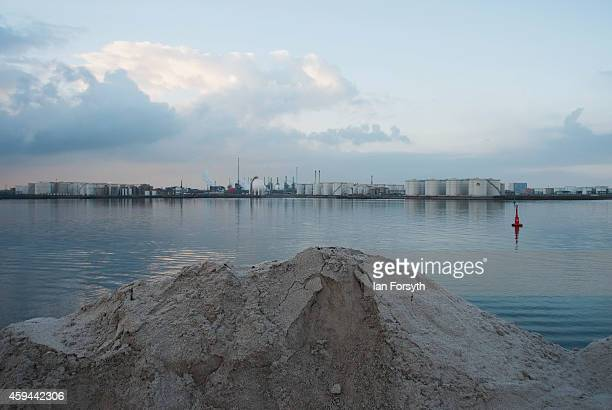Thousands of tone of potash are stored prior to distribution on container ships at the potash facility at Tees Docks on November 20 2014 in Tees...