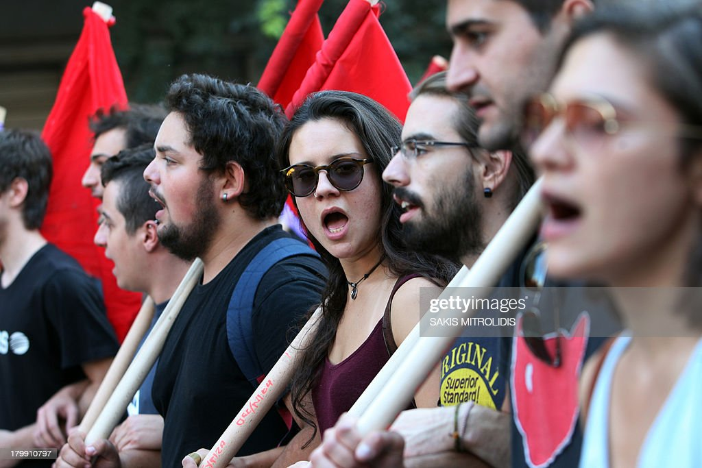 Thousands of workers protest against austerity measures and the layoff of public workers on September 7 2013 in Thessaloniki Greek Prime Minister...