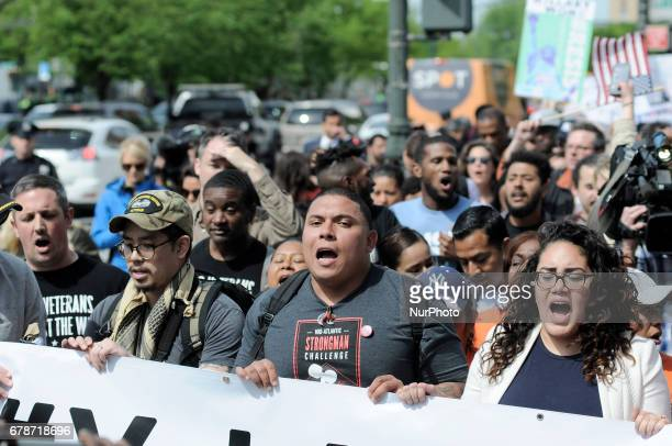 Thousands participate in several AntiTrump rallies as US President Donald Trump returns to NYC on May 4 2017 President trump is scheduled to meet...
