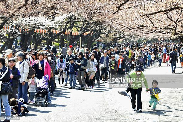 Thousands people queue up to see a pair of giant pandas under cherry blossoms outside of Tokyo's Ueno Zoo on April 1 2011 A pair of pandas leased...