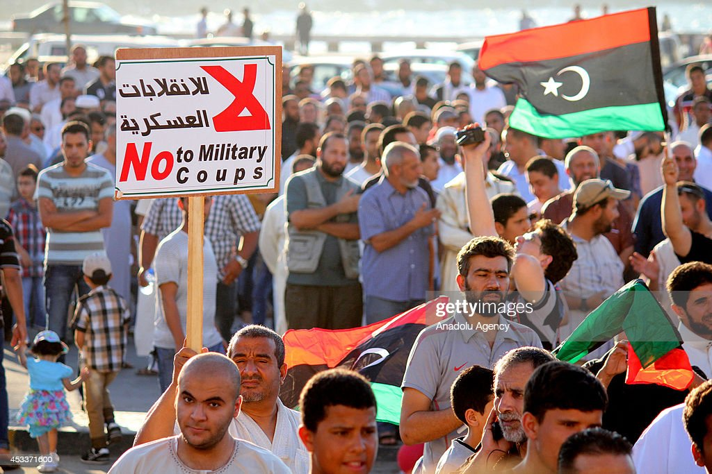 Thousands people stage a protest against the newly elected parliament on August 8 2014 in Benghazi Libya The parliament elected on June 25 is to take...