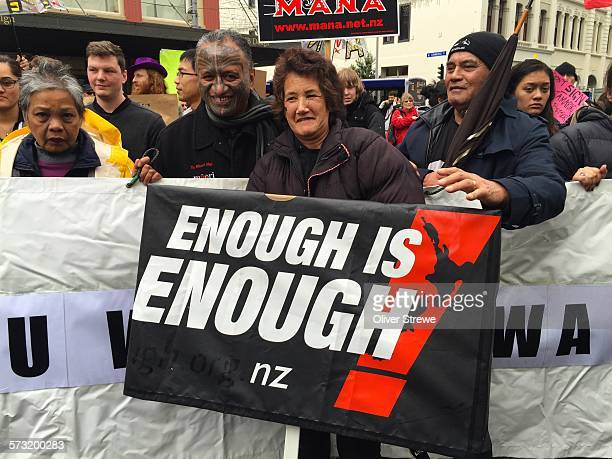 Thousands rally against the TPPA in the streets of Auckland New Zealand August 15 2015
