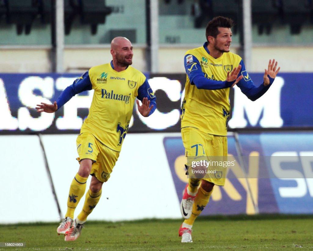 Thèrèau Cyril (R) of Chievo celebrates after scoring during the Serie A between Cagliari Calcio and AC Chievo Verona at Stadio Sant'Elia on December 9, 2012 in Cagliari, Italy.