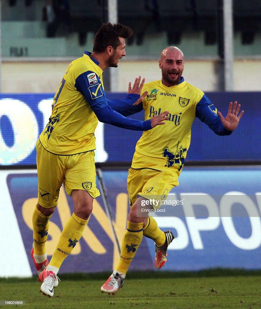 Thèrèau Cyril (L) of Chievo celebrates after scoring during the Serie A between Cagliari Calcio and AC Chievo Verona at Stadio Sant'Elia on December 9, 2012 in Cagliari, Italy.