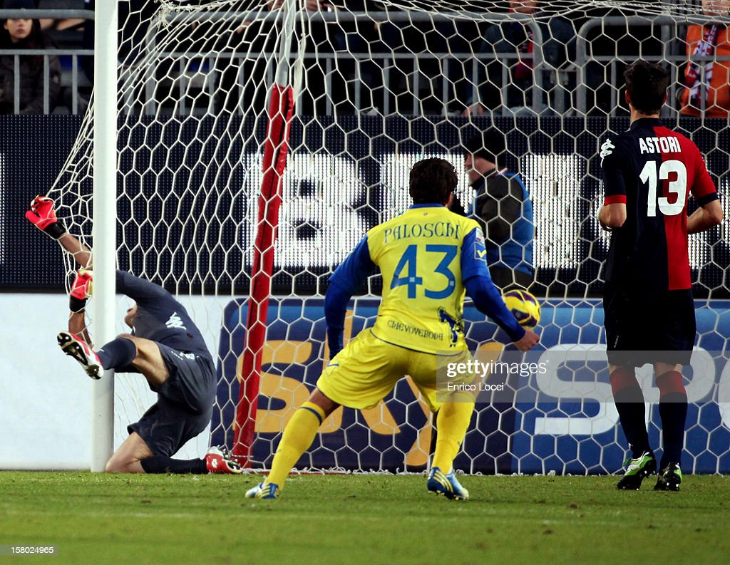 Thèrèau Cyril (not pictured) of Chievo scores during the Serie A between Cagliari Calcio and AC Chievo Verona at Stadio Sant'Elia on December 9, 2012 in Cagliari, Italy.