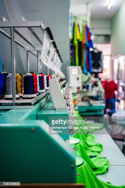 Thread Spools On Machinery In Textile Factory