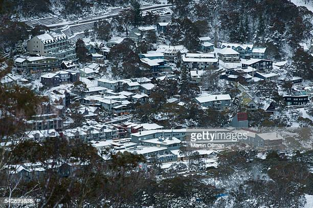 Thredbo village covered in 70cm of snow this week ready for the first weekend of the season on June 25 2016 in Thredbo Village Australia Snow has...
