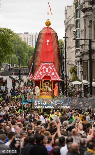 Three 40foot high chariots process along Picadilly in central London during the Hare Krishna Rathayatra Festival of Chariots in Hyde Park central...