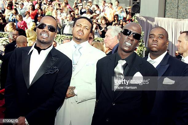 Three 6 Mafia DJ Paul Juicy J Project Pat and Crunchy Black arrive to the 78th Annual Academy Awards at the Kodak Theatre on March 5 2006 in...