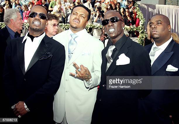 Three 6 Mafia Juicy J DJ Paul Crunchy Black arrive to the 78th Annual Academy Awards at the Kodak Theatre on March 5 2006 in Hollywood California